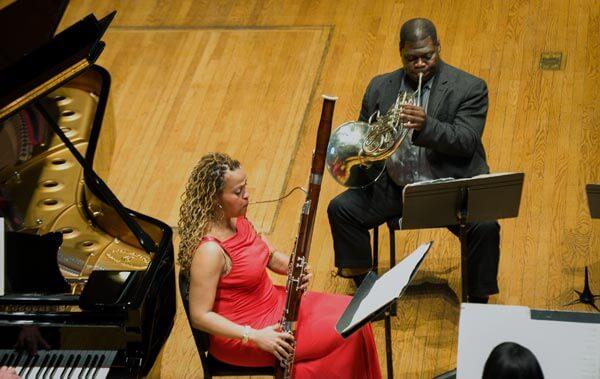 Monica Ellis, bassoon, and Jeff Scott, horn, of Imani Winds (photo credit Walter Novak)