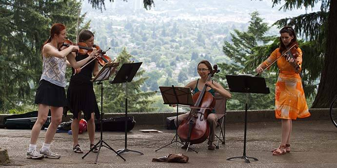 An impromptu concert atop Mt. Tabor by some members of Classical Revolution PDX - Photo by Ethan Trewhitt, Flickr/CC BY-NC-ND 2.0