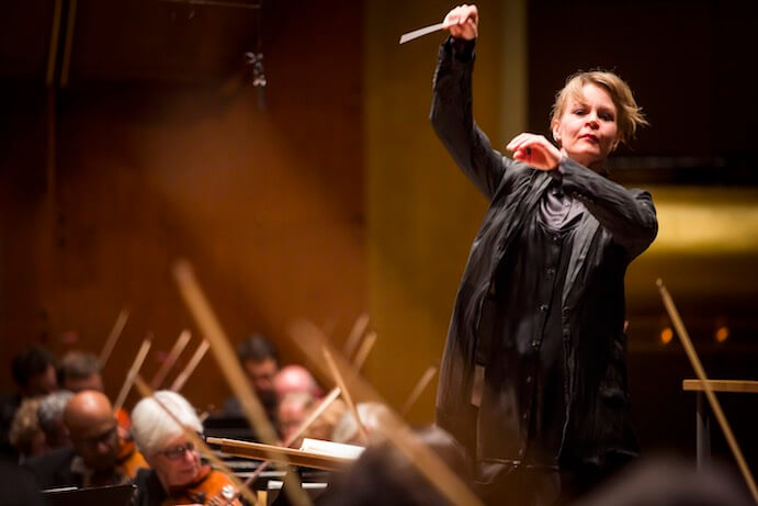 Susanna Mälkki making her debut conducting the New York Philharmonic with Kirill Gerstein as soloist on piano performing at Avery Fisher Hall, 5/21/15