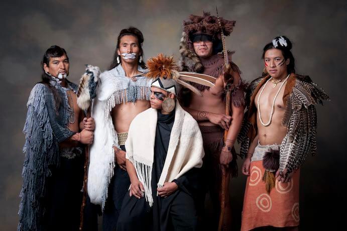 """Clans"" from Lowak Shoppala': Skunk, Bird, Minko, Raccoon and Squirrel – Photo courtesy Chickasaw Nation"