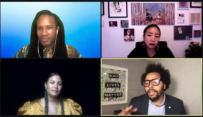 Artist Equity Summit Panelists Lee Bynum, Kathy Mouacheupao, Lady Midnight, and Julian Condie